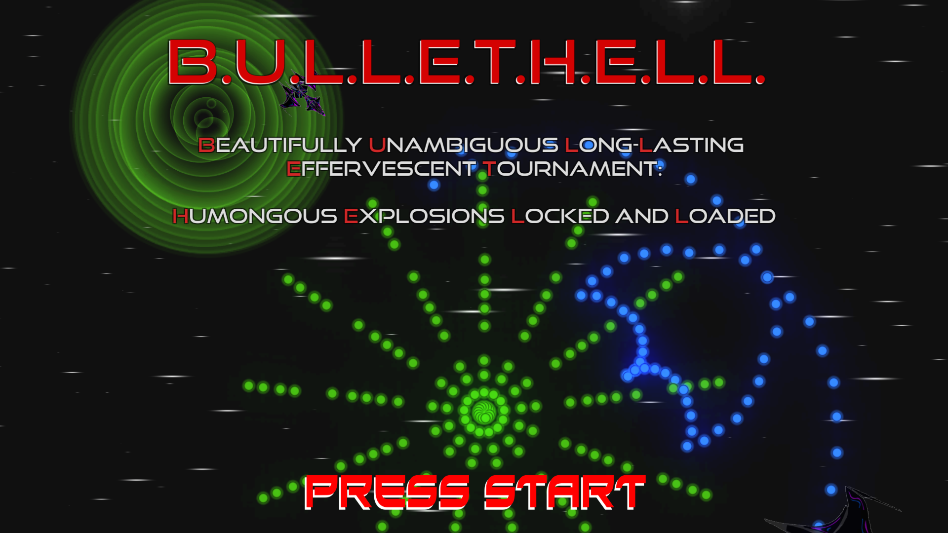 Beautifully Unambiguous Long-Lasting Effervescent Tournament: Humongous Explosions Locked and Loaded - 2-player competitive bullet hell game