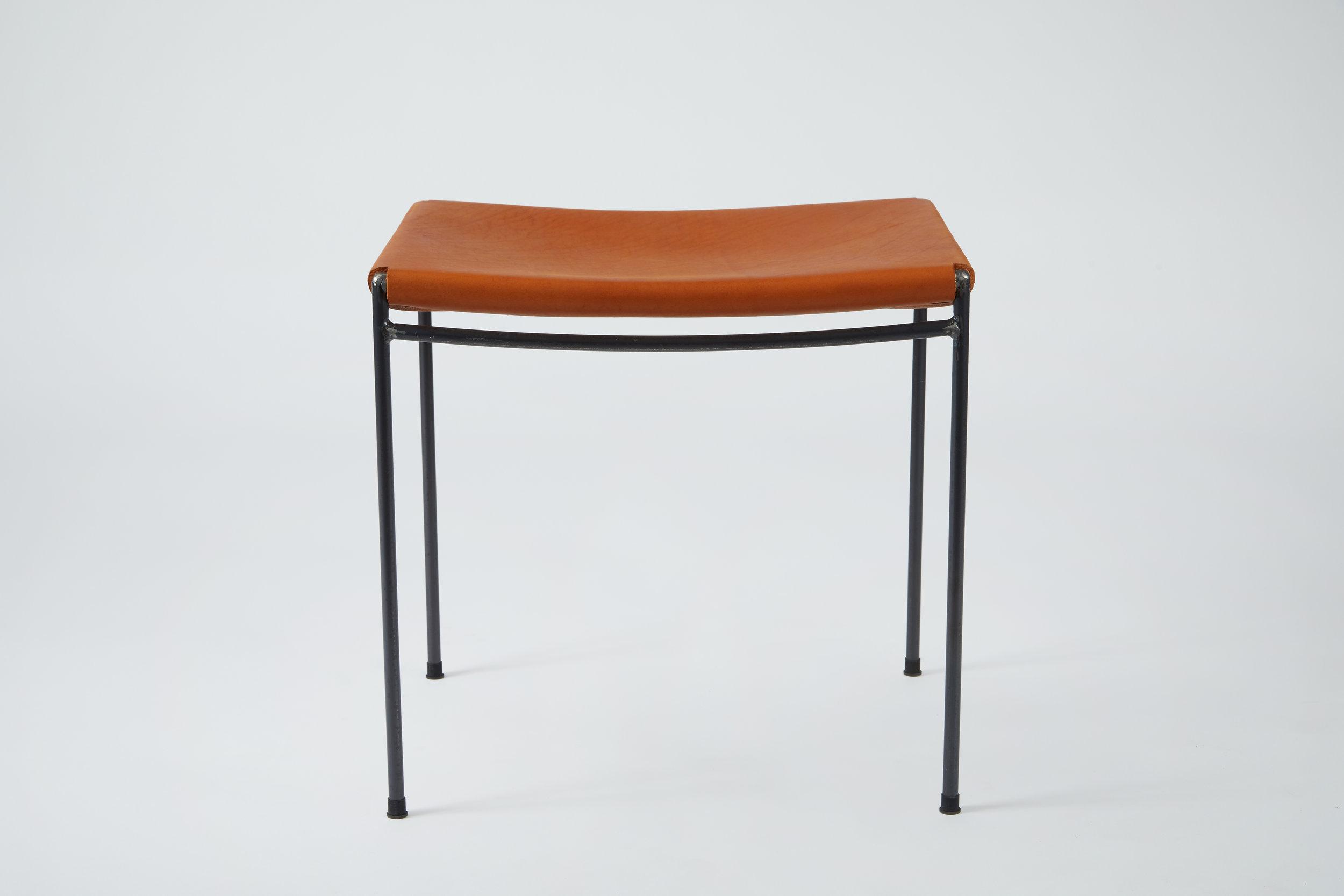 Single Rail Solid Leather Stool - Cognac