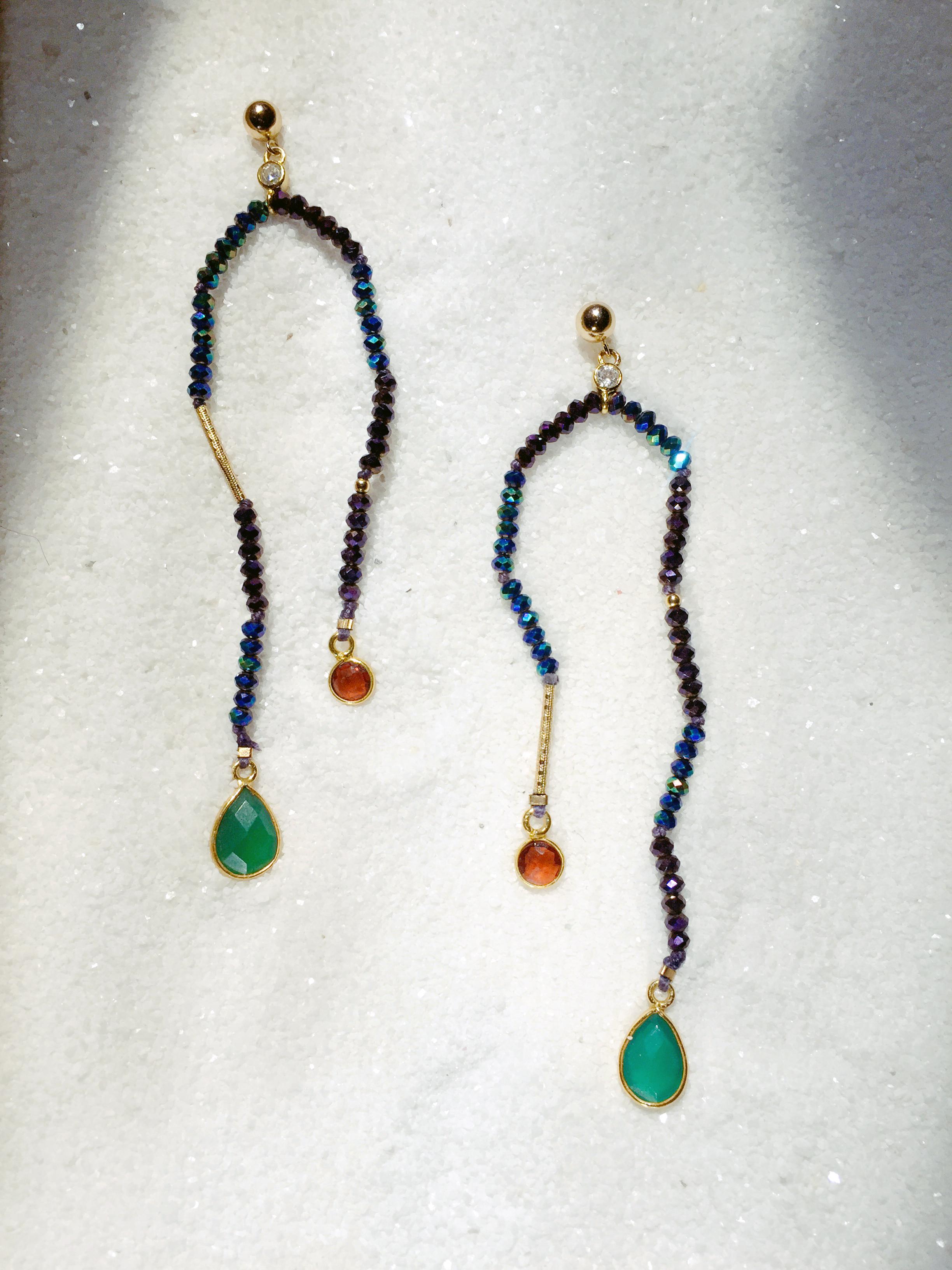 - Gemstone mobile earrings by Elisa Watson-Smith.