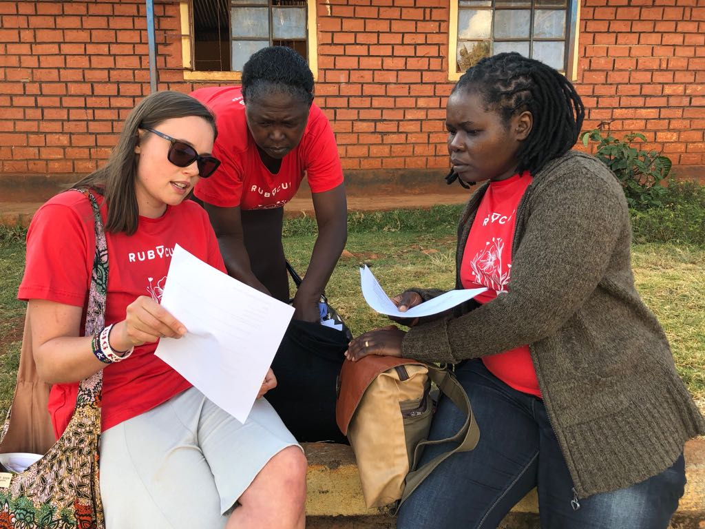 Planning the day with Miriam (center) and Golda (right).