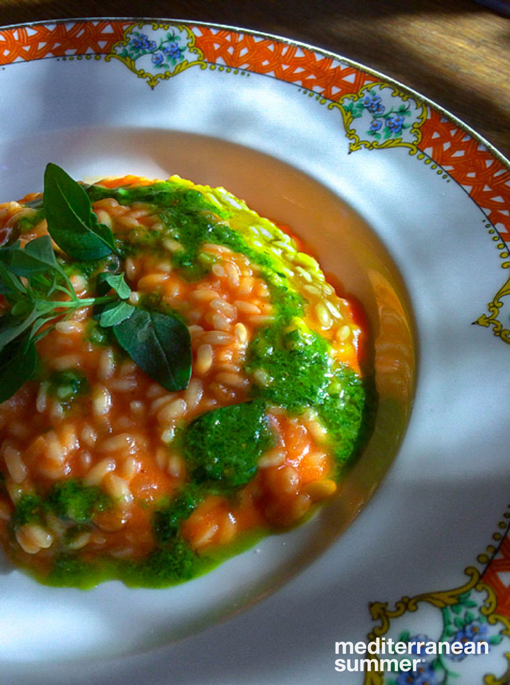 Tomato risotto with pistou at La Fenière, Lourmarin, France (Photo by David Shalleck)