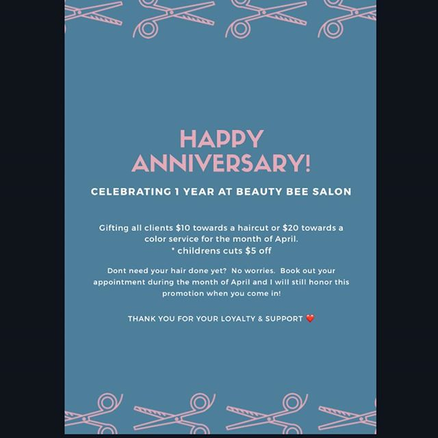 Happy anniversary ❤️💇🏼♀️. Please mention this when booking.  All services and prices are listed on my website 608hair.com. *any current appointments will be honored this at their next appointment when booked out* 💋