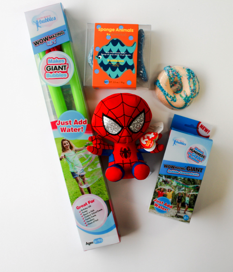 Carrie's Hallmark  • WOWMAZING Giant Bubble Wand, Fish Soap Sponge, Donut Bath Bomb, Spiderman Beanie Boo, WOWMAZING Giant Bubble Refill Pack