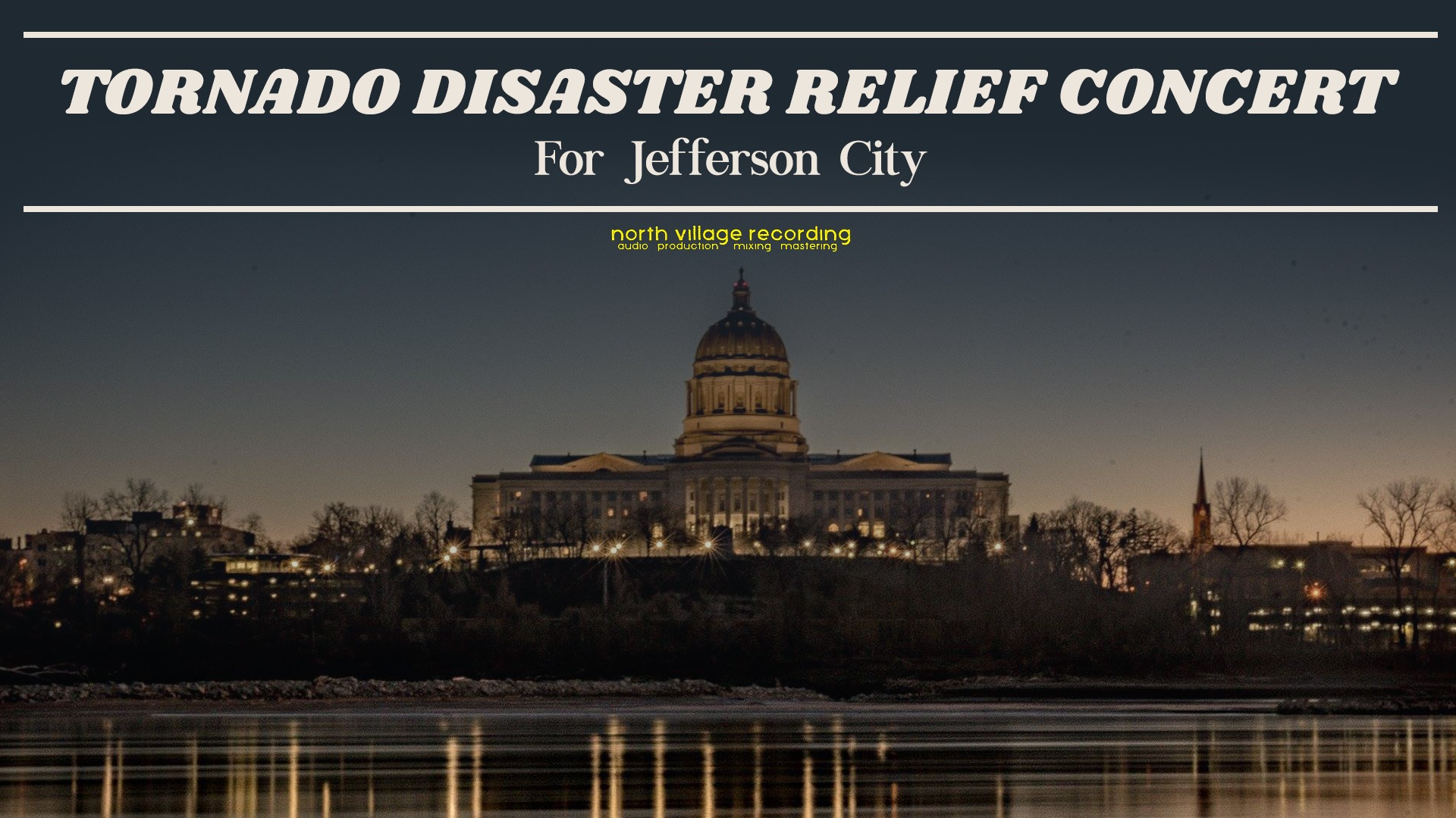 https://www.facebook.com/events/413103069528312/   Columbia, MO Presents TORNADO DISASTER RELIEF CONCERT Benefitting the People of Jefferson City, MO ft. Brad Cunningham +  Mercury Trio  +  Schuyler Prenger  +  Dramatik  +  The Dave Baker Band  & more TBA  Sponsored by:  North Village Recording ,  Byron Amplification , and  Access Percussion   Thursday, May 30 Doors 6pm | Show 7pm at The Blue Note  $5 Minimum Suggested Donation _____  Our friends in Jefferson City need our help! Join us at The Blue Note on Thursday May 30 to raise funds for disaster relief from the devastating tornado that ravaged the heart of the city. More live music performers TBA. 100% of ticket proceeds will go directly to Jefferson City.