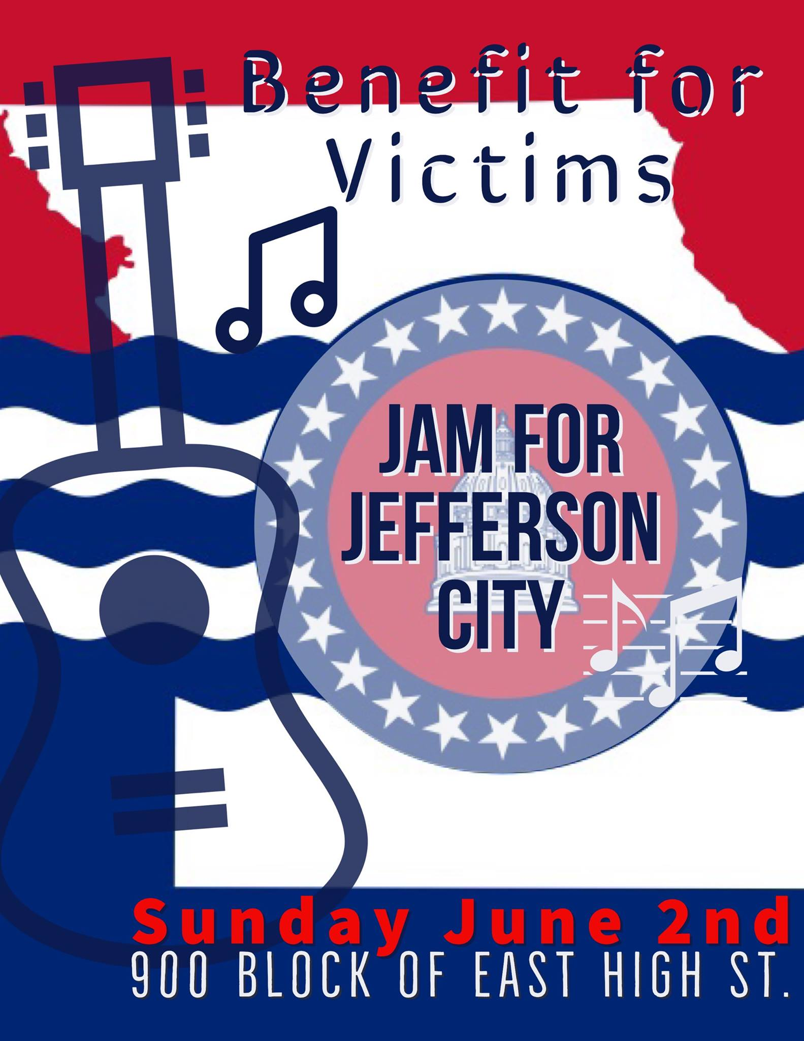 https://www.facebook.com/events/688490778251988/    #JCSTRONG  - Music makes everything better even if for a little while. There is much work to be done in JTown. Next Sunday afternoon, local musicians will gather to bring hope and spread some joy through our universal language. This will be a family friendly event! 900 BLOCK EAST HIGH STREET  Funds raised through this event will be donated to the  United Way of Central Missouri ,  Habitat for Humanity  and  Common Ground Community Building . We are in the planning phase, however our goal is to have representatives from these organizations present to accept donations directly in addition to non perishable items. Stay tuned for more information.  Band lineup TBD - Private message or email The Mission if your band is interested. {livemusic@themissionjc.com}  Our neighbors  JQ's on High  will be open as well!
