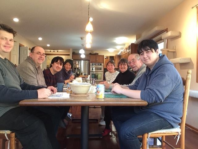 2017 Thanksgiving dinner. From the left, Simon and Paul Hansen, Cathy's sons; Corwin, Paul and Keiko's son; Keiko Nakayama; Sally Schoenberg, Cathy Schoenberg; Michael Clough; Conrad, Paul and Keiko's other son.