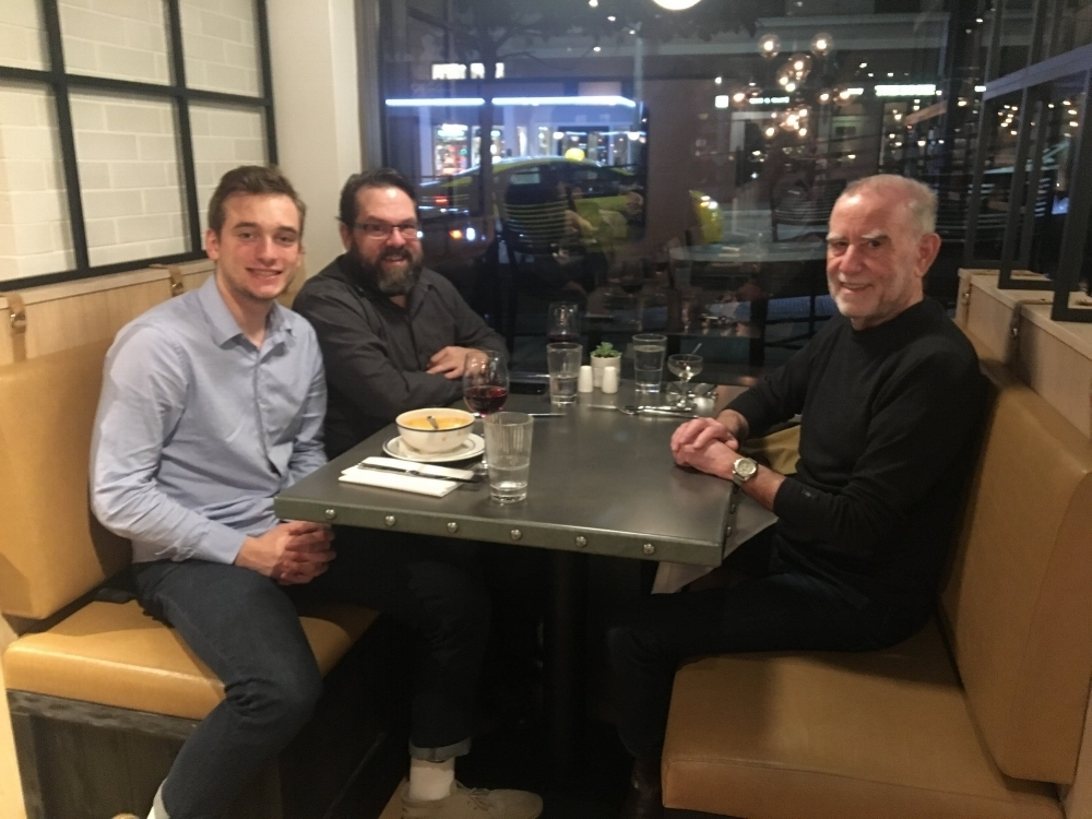 Thanksgiving 2017. From the right, Ron Schoenberg; Joel Schoenberg, Ron's son; Sam Schoenberg, Joel's son. We're enjoying a prix fixe dinner at the All Water's Restaurant in Downtown Seattle.