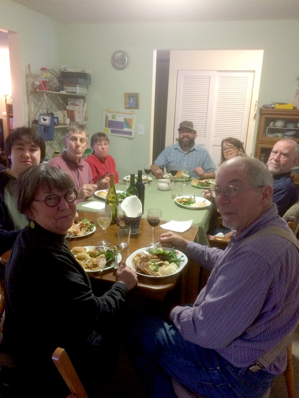 - Christmas Day dinner at Paul and Keiko's. Clockwise from the bottom, Michael Clough, Cathy, Corwin (Paul and Keiko's son), Randy, Sally, Joel, Jenny, and Ron.