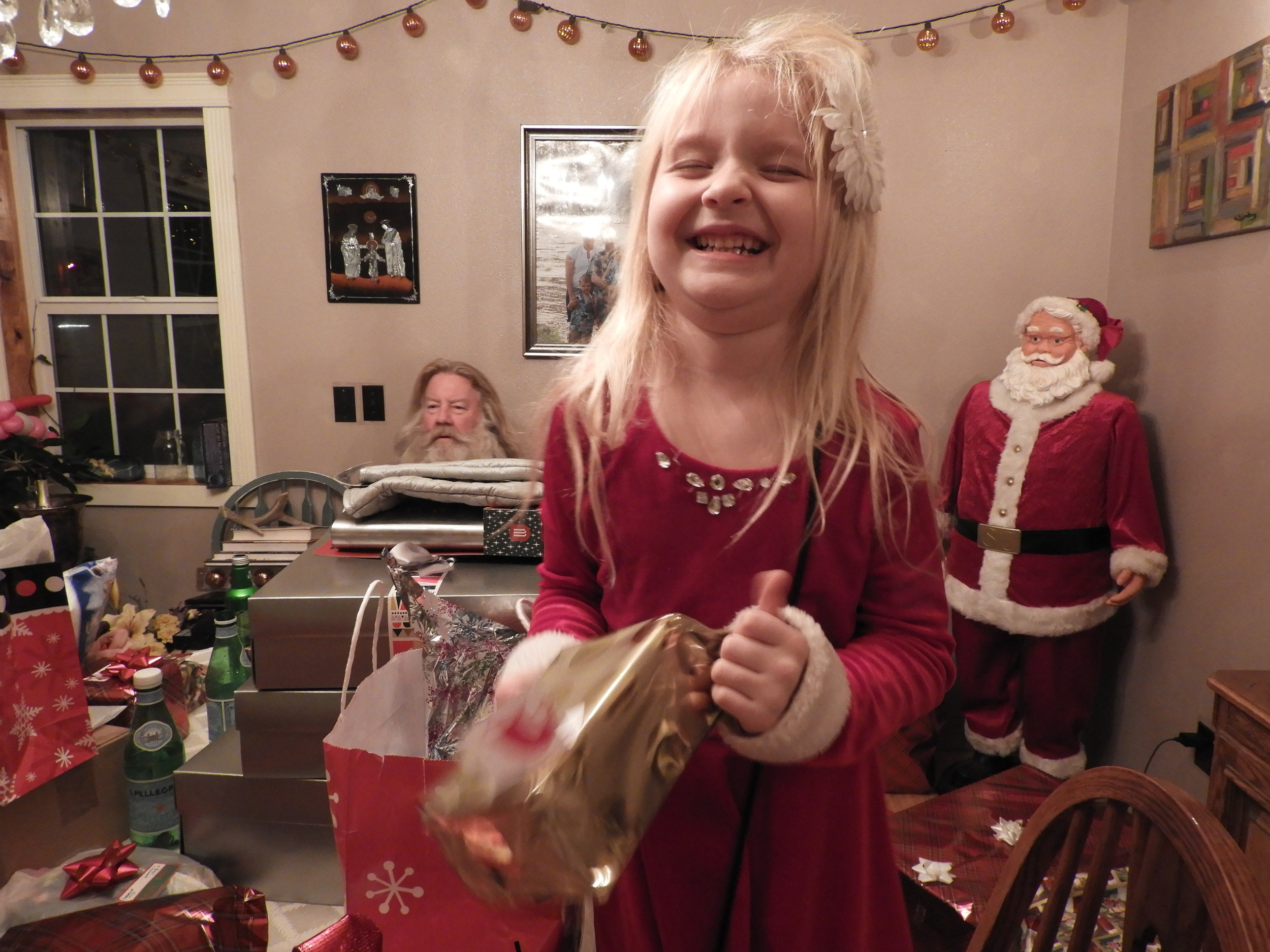 - Christmas and Amy and Pat's.  Amy and Pat's granddaughter Kylee Conley, daughter of Adam Conley, in the foreground, and Pat in the background.