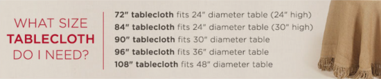 {Follow this guide to get the right size table cloth for your round table. From  Ballard Design .}
