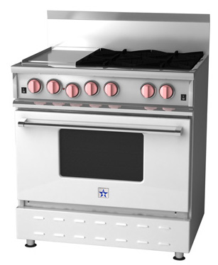 {Bluestar Range with pink knobs, a smart way to add color with appliances.}