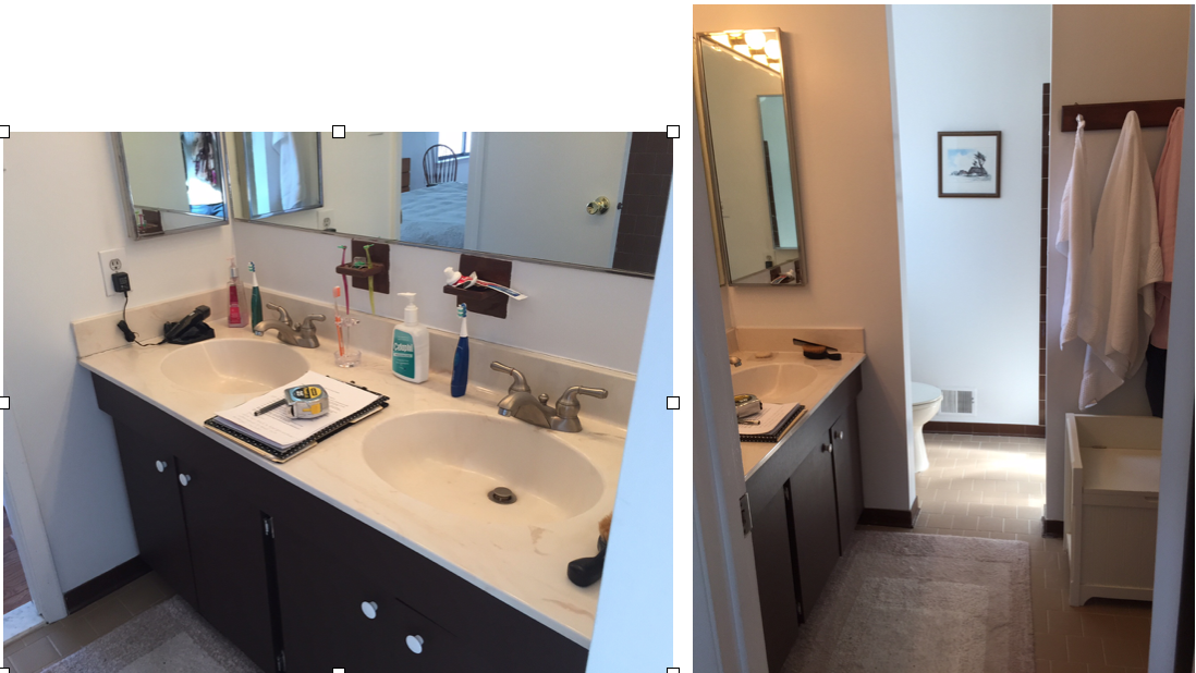 {BEFORE images of master bathroom.}