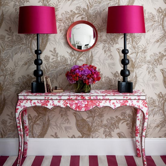 {WOW! This is a great combination of pinks and patterns. From  Belle Maison .}
