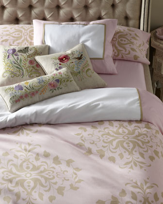 {Soft pink bedding is a soothing way to end your day! From  Horchow. }