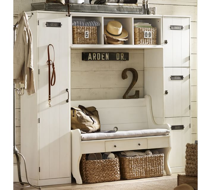 {Bins, hooks and cubbies, oh my! From:  Pottery Barn .}