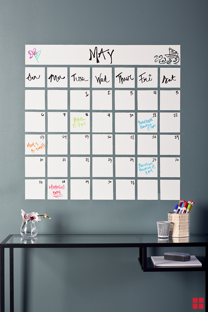 {Stay focused at work with a wall-sized calendar. This dry erase version would make for an awesome rainy day DIY undertaking. Switch up the themes or designs month to month, perhaps intertwining in some seasonal wall accents for extra flair. From:  Rust Oleum .}