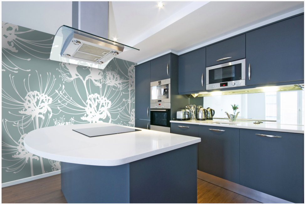 {This sleek kitchen setup offered the homeowners an opportunity to do something superb with that wide wall. The wispy floral printed sheet {Right? Would you guess it's a sheet?}, with it's oversized pattern, adds a pinch of personality and a dash of homeyness to the otherwise idle area. From:  Brilliant Wall Systems .}