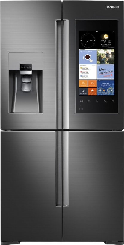 {Samsung is redefining refrigerators with its Family Hub model. The door's touch screen elevates this appliance to a media and communication center. It features Smart TV connectivity and music streaming capabilities, along with calendar and note pad apps. If that's not enough, you can view the contents inside on your smartphone thanks to three interior cameras – perfect for when you're drawing a blank at the grocery store. From:  Samsung .}