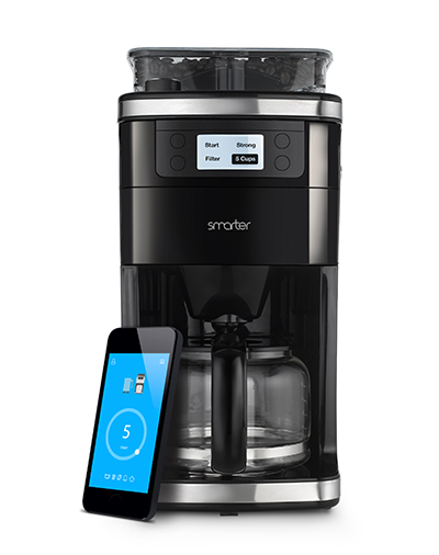 "{With the press of a button, on your smartphone that is, you can indulge in freshly ground and brewed coffee. Smarter puts the ""app"" in ""appliance""; you can remotely adjust the strength of your coffee, select the number of cups to brew and even schedule a cleaning cycle. From:  Smarter .}"