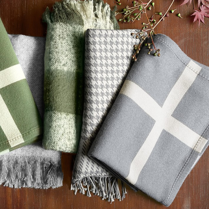 {Lambswool and cashmere houndstooth throw from  Williams Sonoma .}
