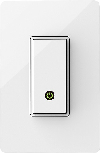 {The Belkin WeMo Light Switch allows you to control and program lighting schedules from an Apple or Android device with ease of their app. Including a sleek wall-mounted switch that readily replaces any existing light switch in your home, a motion sensor is also included with your purchase. From:  Belkin .}