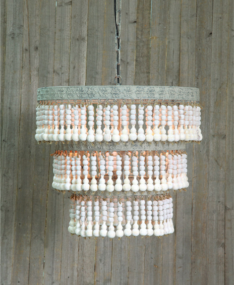 {Beads make this rustic chandelier a real beauty! From  Bellacor .}