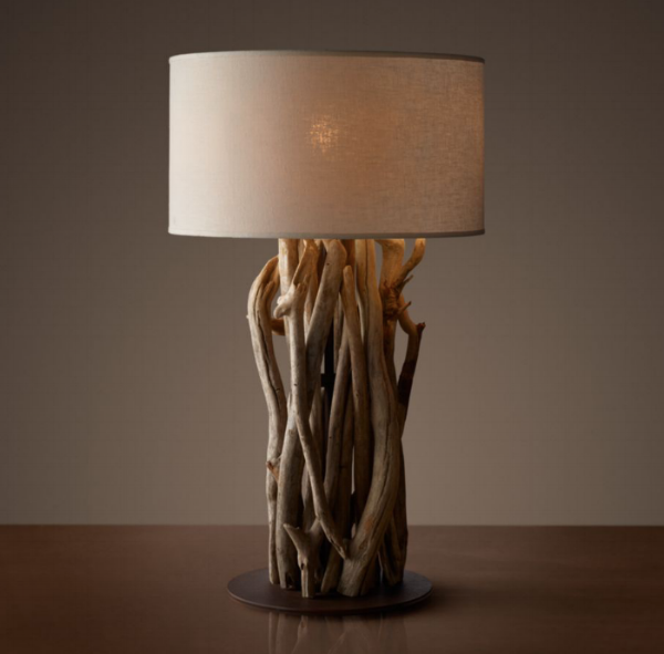 {Driftwood is so organic and interesting. I love the texture of the base, it adds a sculptural element to the table lamp. From:  Restoration Hardware .}