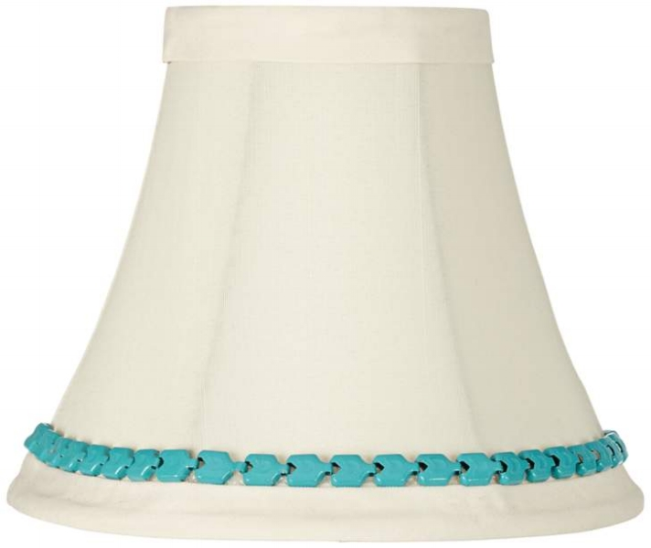 {The metal turquoise accent in this dainty shade is stunning! From  Eurostyle Lighting .}