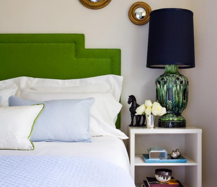{This bedside lamp looks great is this bold bedroom. From  HGTV .}