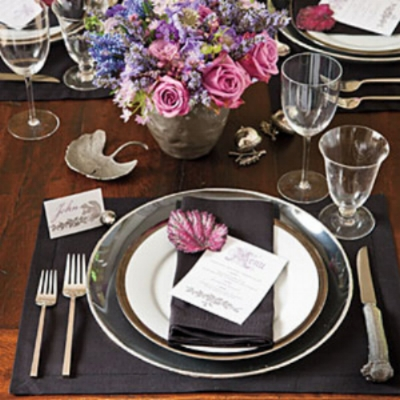 {Black adds drama to a Thanksgiving table setting. From  Southern Living .}