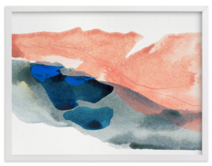 {This piece makes a minimalist& vibrant statement in shades of Rose Quartz and Serenity. From  Minted , by Lauren Adams.}