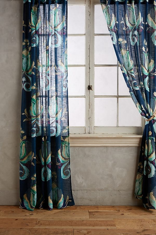 {A peacock-like print gives your window treatment a stunning statement. From:  Anthropologie .}