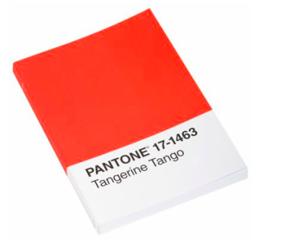 {Pantone's Tangerine Tango Journal, $10, I know, you've been looking for a journal with a color ship on the front!}