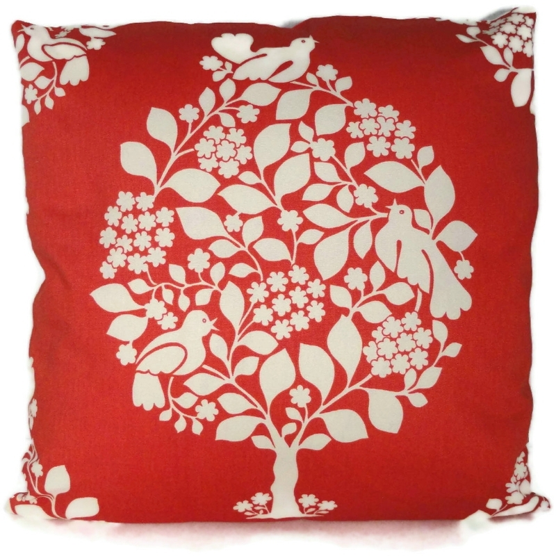 {Duralee's Tangerine Tango Tree of Life makes for an energetic decorative pillow sham. From:  PopOColor .}