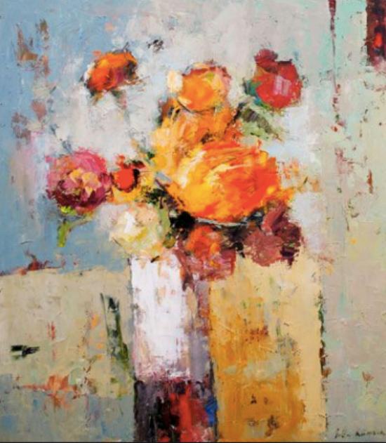 {The pops of Tangerine Tango add vibrancy to this stunning still life. From:  Julia Klimova .}