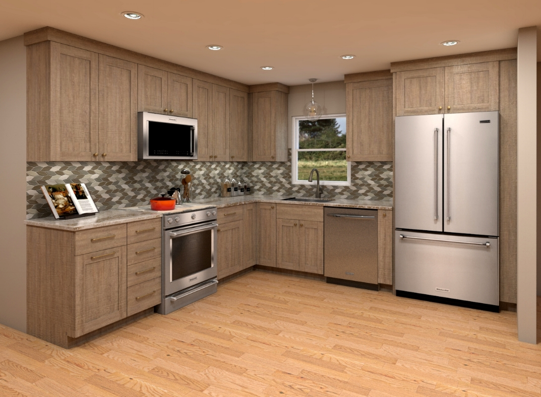 {Inspired by our client's interest in nature, we were excited to present our leaf-shaped backsplash mosaic find. Rendering by  Nick Miller .}