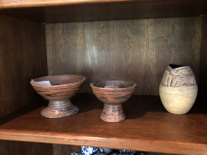 {Beverly's treasured collection of Pre-Colombian pottery, pieces her father acquired in his travels.}