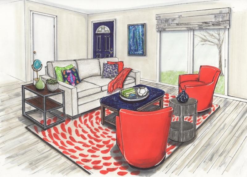 {Design by  April Force Pardoe Interiors , Illustration by  Jane Gianarelli .}
