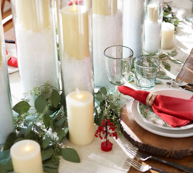 {Faux snow elevates this holiday dinner tablescape from everyday to spirited. From:  Pottery Barn .}