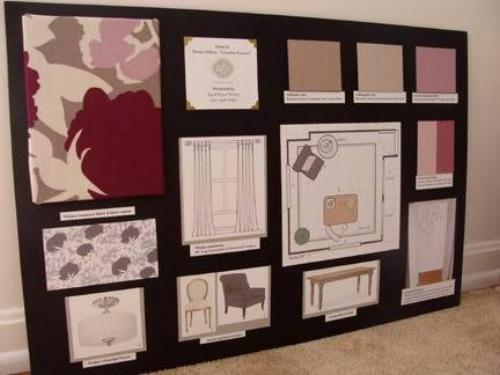 {Full board, showing fabric, window treatment sketch, furniture and lighting plans, paint colors and floor plan}