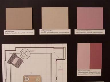 {Suggested paint colors: Walls - Benjamin Moore Creekbed #1006, Ceiling - BM Hazlewood #1005, Interior closet - Sherwin Williams' Rosé #6290, Closet stencil - SW Delightful # 6289 & Moss Rose #6291}