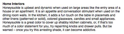 {Using honeysuckle in the home, taken from  Pantone's website .}