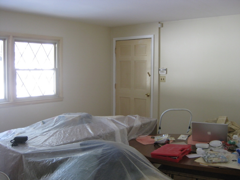 {A sneak peek at the living room redesign in progress!}