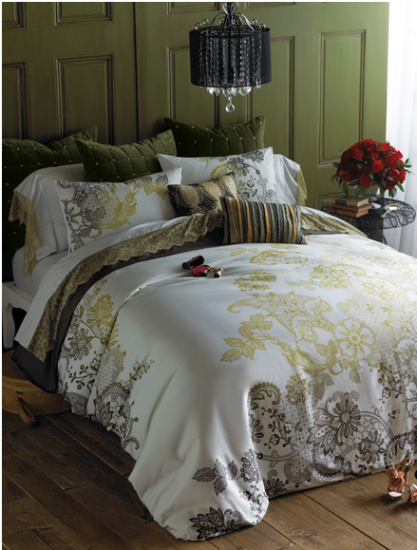 {Evita bedding combines warm gold, slate grey and a deep green to create a modern and sophisticated look. From  Bliss Living Home .}