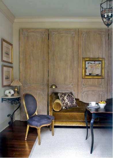 {Chaise covered in a rich, gold fabric pairs well with an indigo chair – a deslightful color combination. From:  Shelterness }