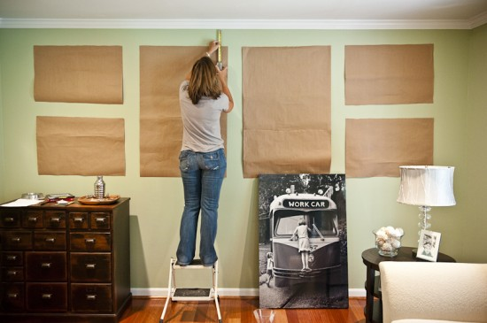 {Craft paper goes up on the walls for placement before any nails go into the walls. Photo by  Mary Gardella .}