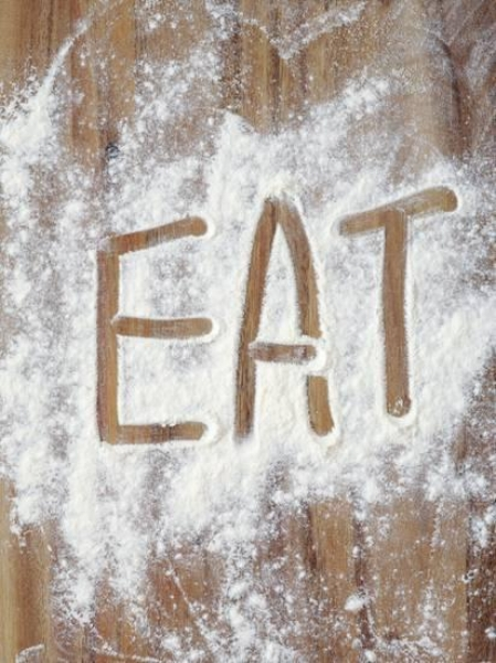 {Simple and direct, but a conversation starter!  Eat in Flour  by Neil Overy.}