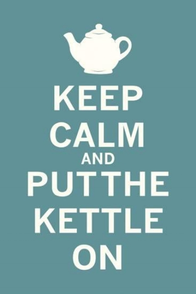 """{This """"keep calm"""" series is a bit overdone, but this is a cheeky spin for your kitchen!  Keep Calm Tea  by  The Vintage Collection .}"""