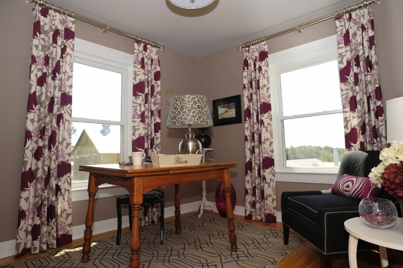 {Our 2010 Historic Ellicott City Decorator Show House design. The home office features taupe walls, vibrant plum prints and sophiosticated black upholstery. Design by  April Force Pardoe Interiors .}