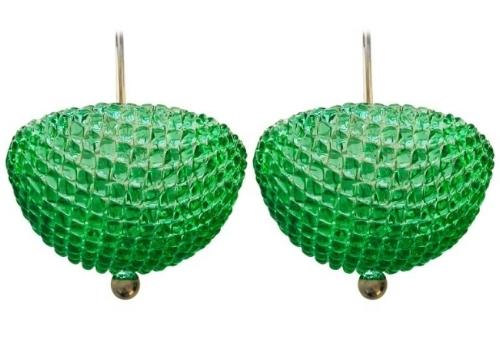 {Mid-century inspired emerald green Murano lattice glass pendants. From:  1stDibs .}